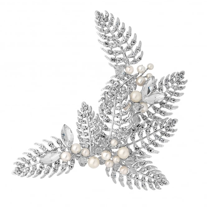 Designer Silver Autumn Leaf Hair Comb