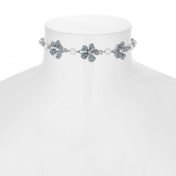 Alan Hannah Devoted Designer Silver Blue Crystal And Pearl Flower Toggle Necklace