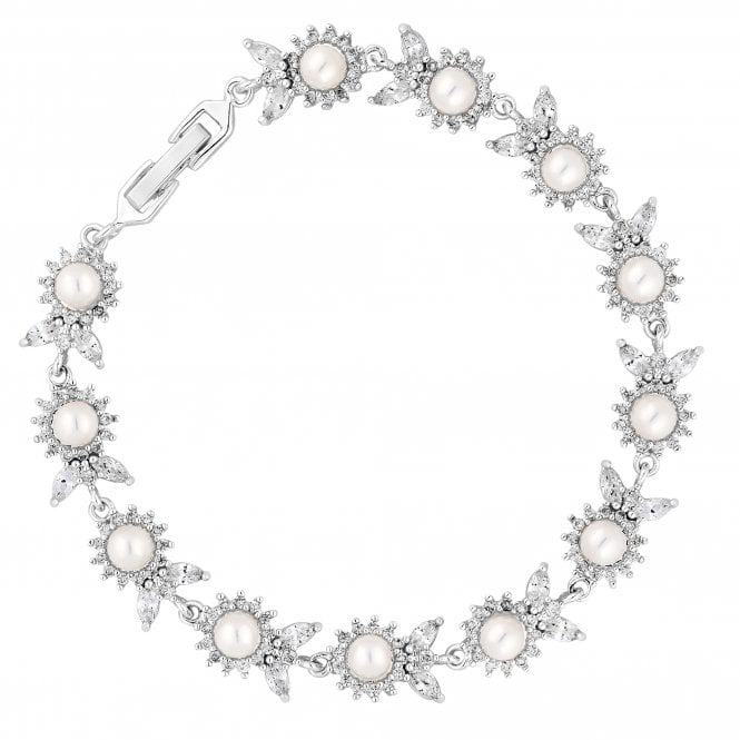 Designer Silver Crystal And Pearl Flower Bracelet