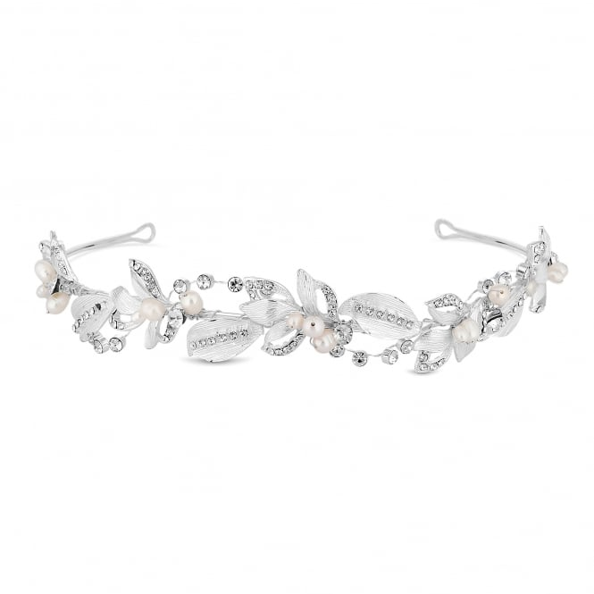 Designer Silver Crystal And Pearl Leaf Swirl Hair Headband