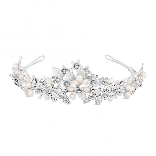 Designer Silver Crystal And Pearl Tiara