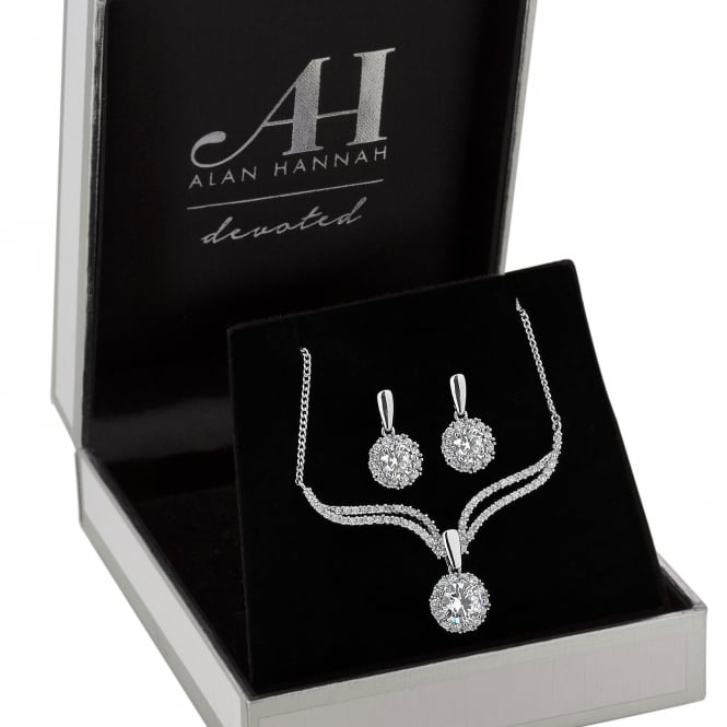 Designer Silver Crystal Halo Drop Jewellery Set In A Gift Box