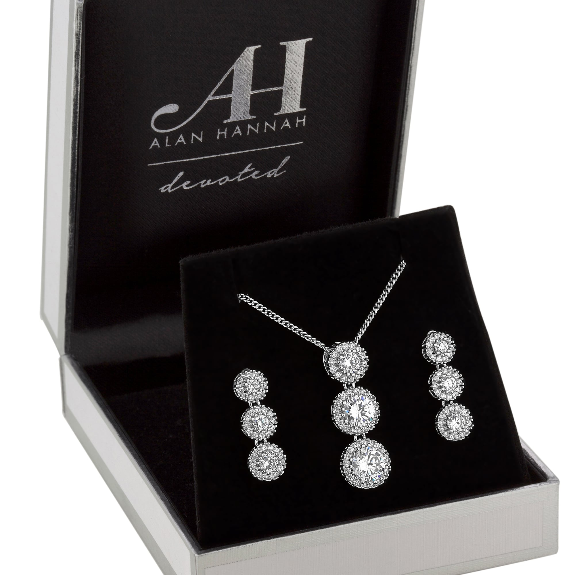 Alan Hannah Devoted Designer Silver Crystal Halo Drop Jewellery Set In A Gift Box