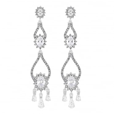 Designer Silver Crystal Halo Statement Drop Earring
