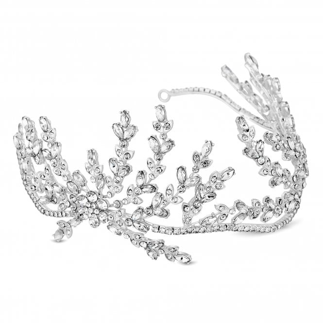 Designer Silver Crystal Spray Statement Hair Piece