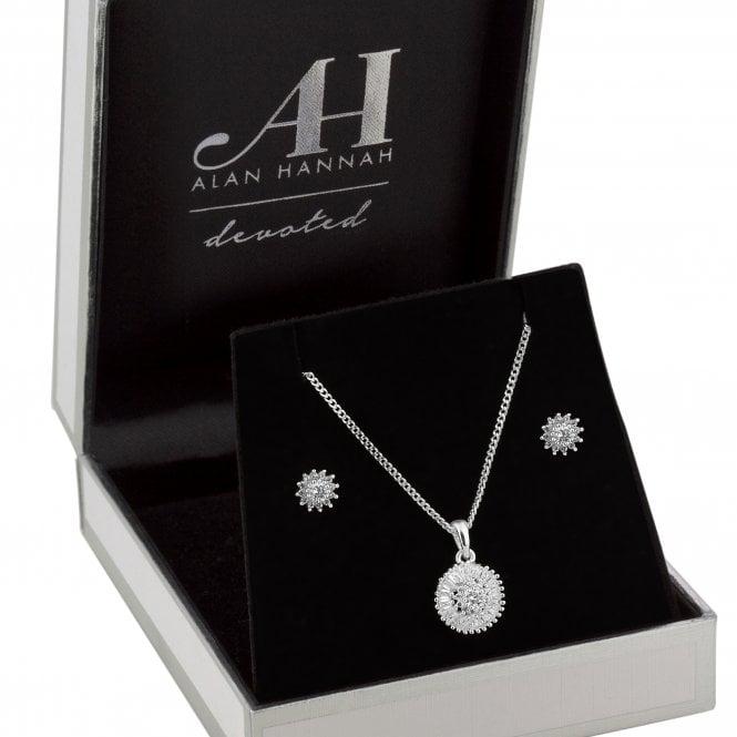 Designer Silver Cubic Zirconia Burst Jewellery Set