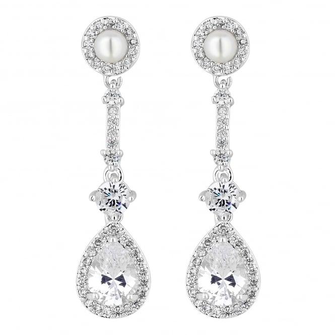 Designer Silver Cubic Zirconia Halo Pear Drop Earring