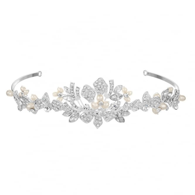 Alan Hannah Devoted Designer Silver Freshwater Pearl And Crystal Tiara