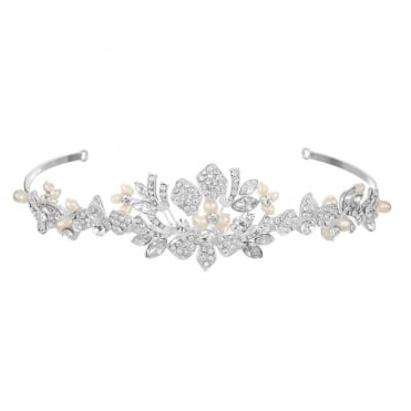 Designer Silver Freshwater Pearl And Crystal Tiara