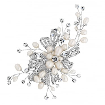 Designer Silver Freshwater Pearl Spray Hair Clip