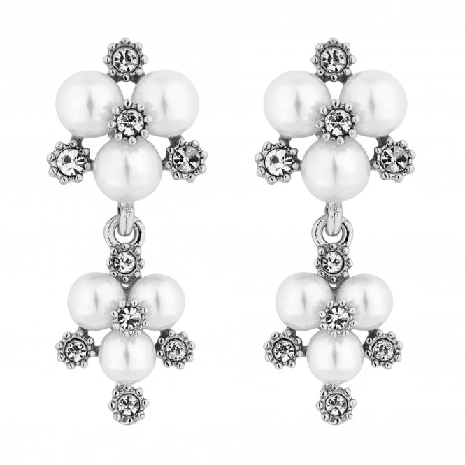 Designer Silver Pearl And Crystal Cluster Drop Earring