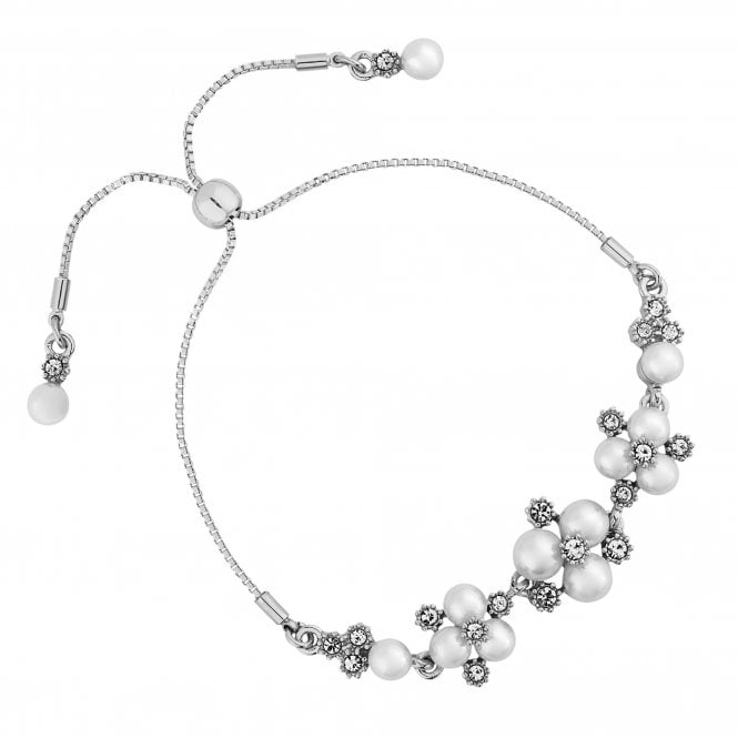 Designer Silver Pearl And Crystal Cluster Toggle Bracelet
