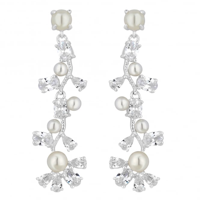 Designer Silver Pearl And Cubic Zirconia Vine Drop Earring