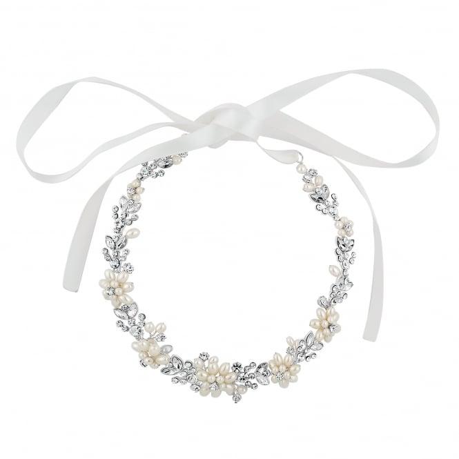 Designer Silver Pearl Blossom Wrap Halo Headband