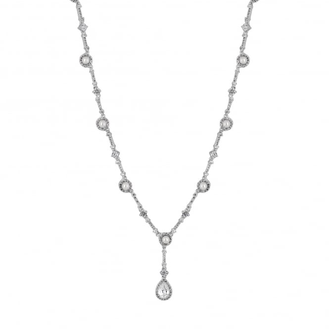 Designer Silver Pearl Halo Pear Drop Necklace