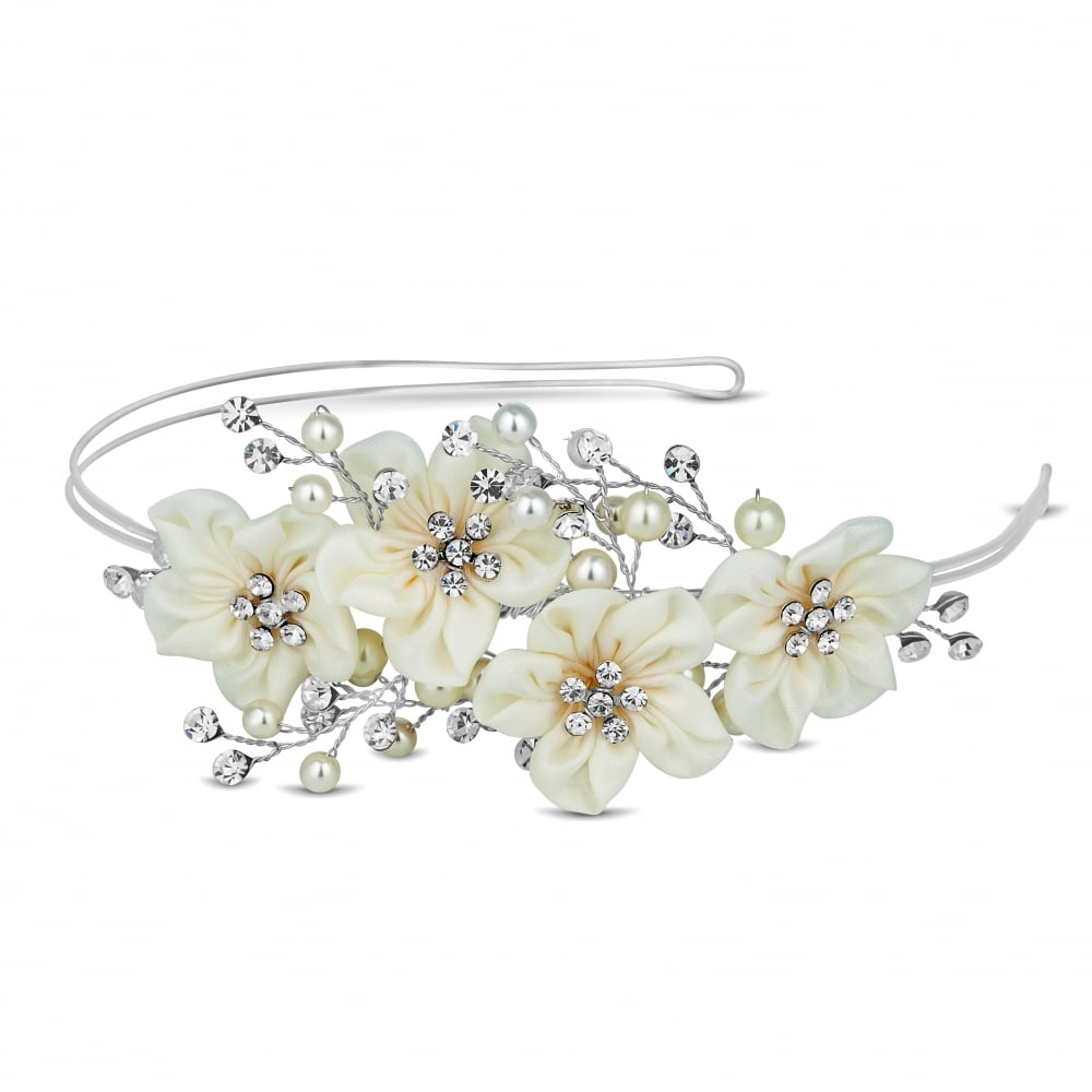 Alan Hannah Devoted Designer Silver Primrose Silk Flower Headband