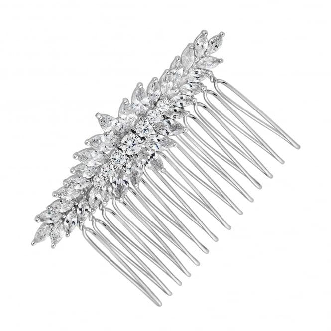 Desinger Elvine Silver Cubic Zirconia Clustered Navette Hair Comb