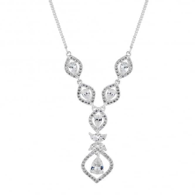 Desinger Silver cubic Zirconia Floral Y Drop Necklace