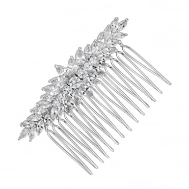 Elvine cubic zirconia clustered navette hair comb