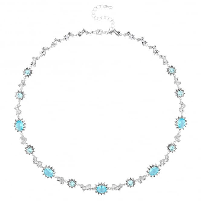 Enchanted Silver Blue Cubic Zirconia Clara Necklace