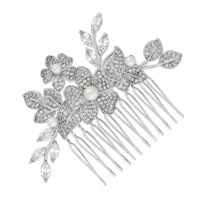 Designer Silver Pearl Freya Flower Hair Comb