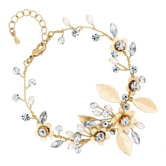 Gold Blossom Crystal Freshwater Pearl Bracelet