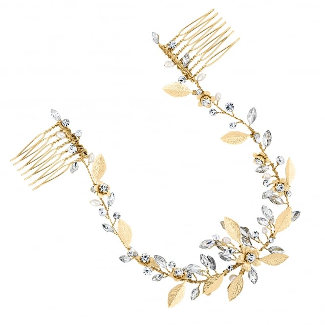 Gold Blossom Crystal Freshwater Pearl Double Hair Comb