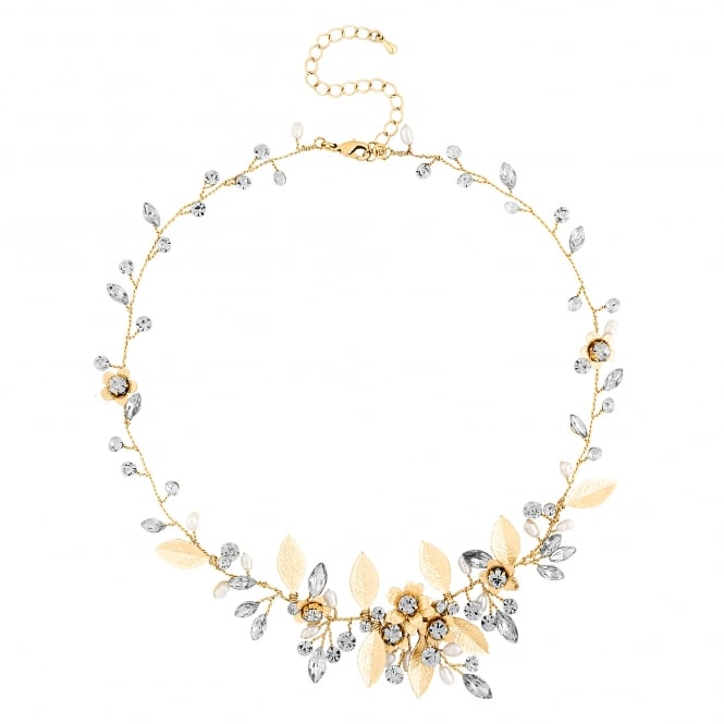 Gold Blossom Crystal Freshwater Pearl Necklace