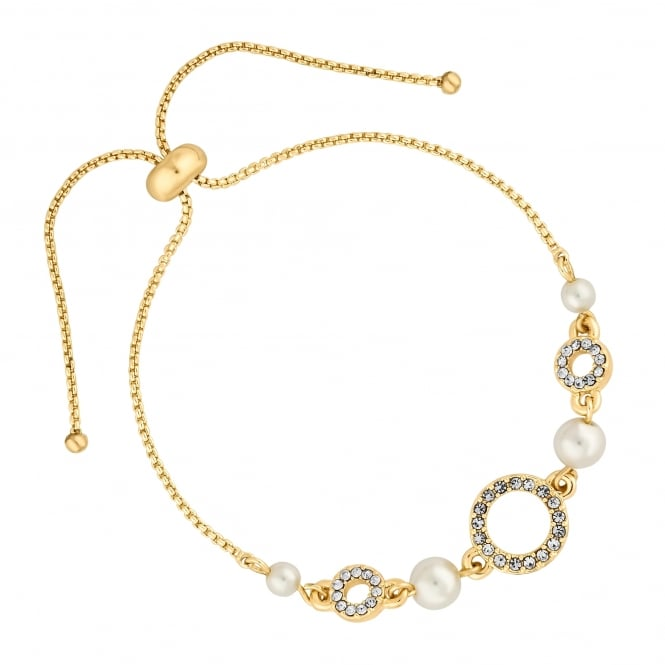 Gold circle and pearl bracelet