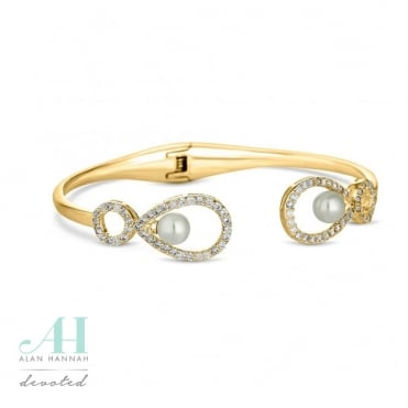 Gold pearl open bangle