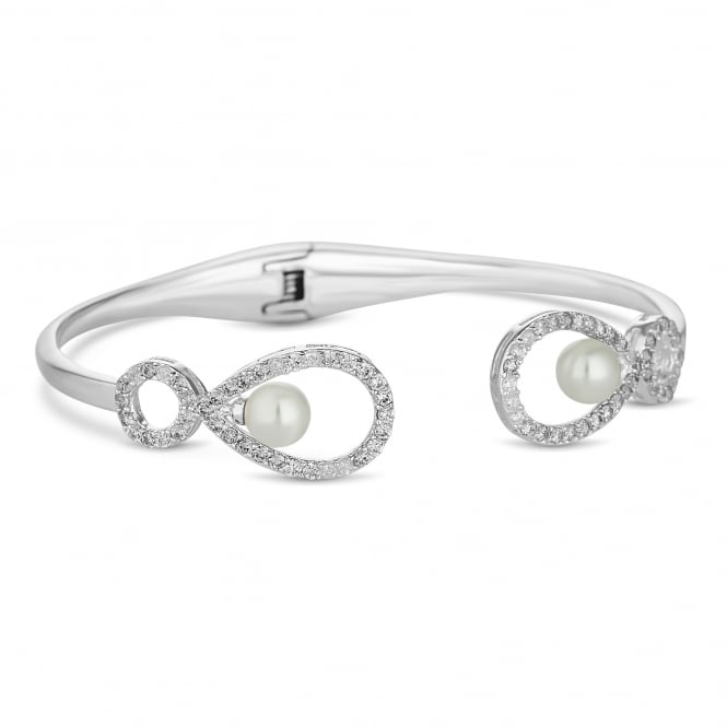 Alan Hannah Devoted Grace pearl and cubic zirconia open bangle