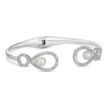 Grace pearl and cubic zirconia open bangle