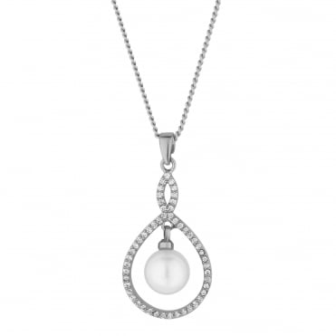 Grace pearl and cubic zirconia pendant