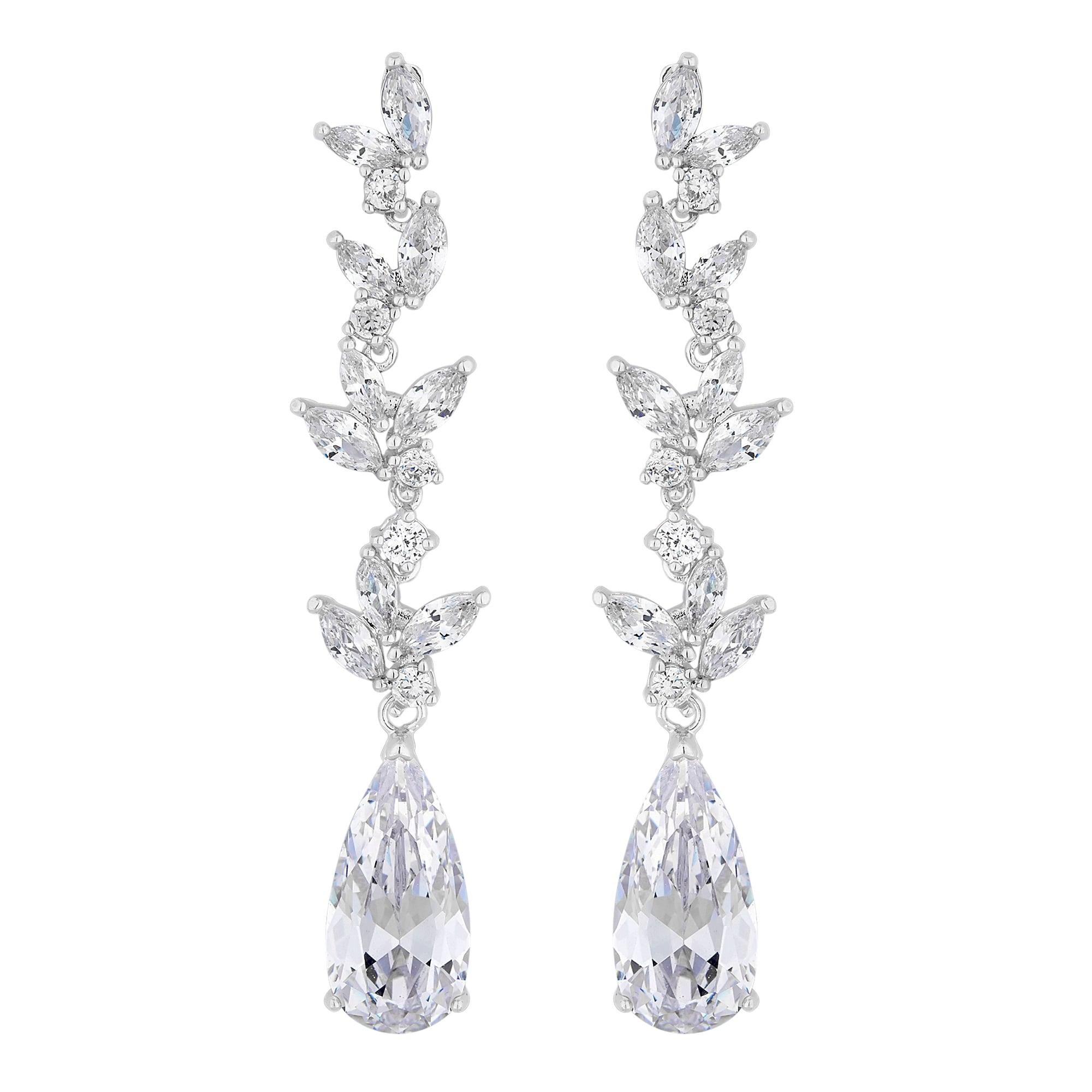Lily Silver Cubic Zirconia Pear Drop Earrings