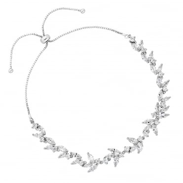 Lily Silver Cubic Zirconia Pear Drop Toggle Bracelet