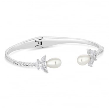 Silver Magnolia Cubic Zirconia and Pearl Cuff Bangle