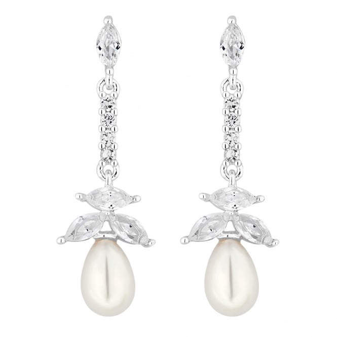 Alan Hannah Devoted Silver Magnolia Cubic Zirconia and Pearl Earring