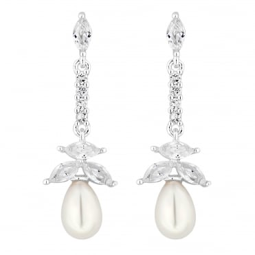 Silver Magnolia Cubic Zirconia and Pearl Earring
