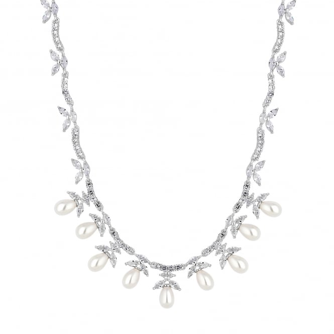 Silver Magnolia Cubic Zirconia And Pearl Necklace