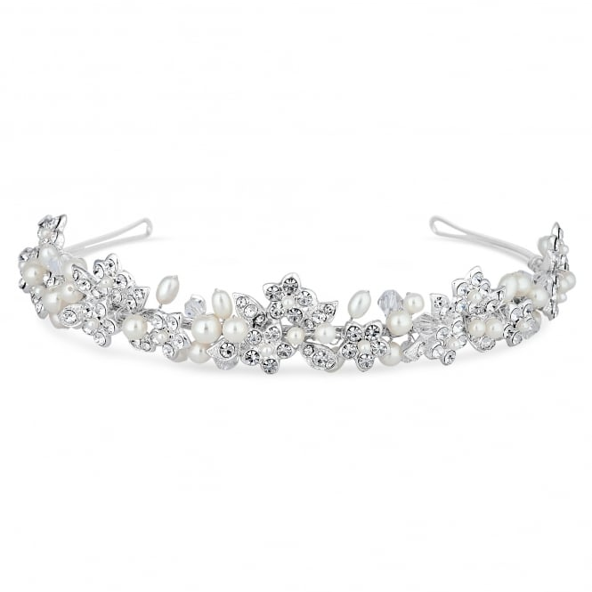 Alan Hannah Devoted Magnolia Silver Freshwater Pearl And Crystal Headband