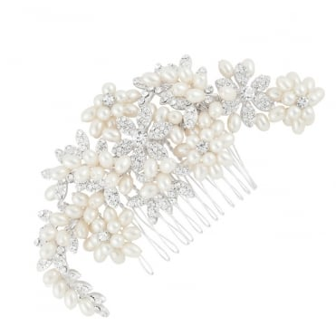 Designer Pave Crystal Flower And Multi Pearl Comb