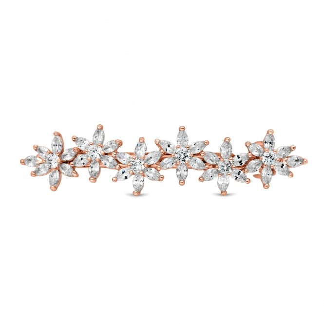 Designer Rose Gold Crystal Flower Hair Clip