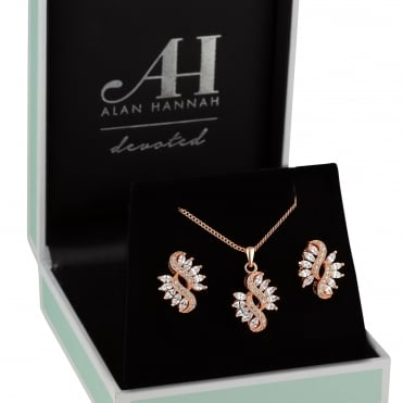Rose gold navette jewellery set