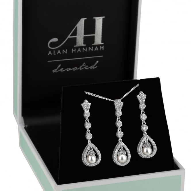 Alan Hannah Devoted Designer Silver Pearl Pear Drop Jewellery Set In A Gift Box