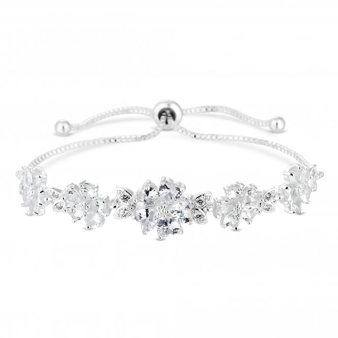 Silver Plated Clear Cubic Zirconia Bouquet Bangle Bracelet