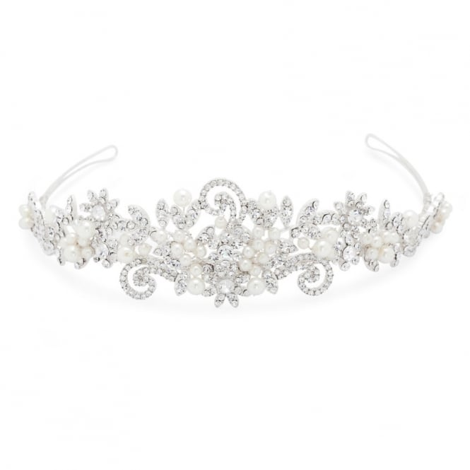 Alan Hannah Devoted Statement Pearl And Crystal Swirl Tiara