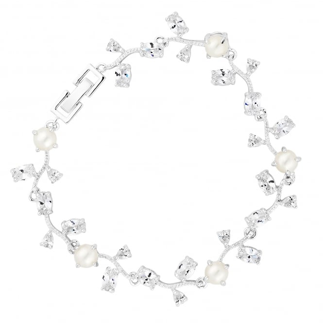 Designer Silver Pearl And Cubic Zirconia Vine Bracelet