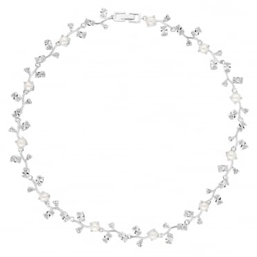 Designer Silver Pearl And Cubic Zirconia Vine Necklace