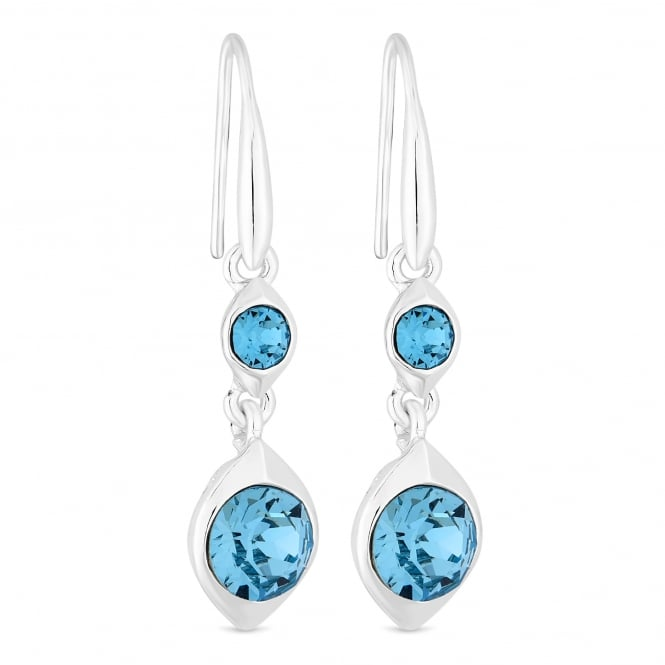 Silver Blue Pear Drop Darring Embellished With Swarovski Crystals