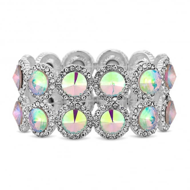 MOOD By Jon Richard Silver Aurora Borealis Crystal Halo Stretch Bracelet